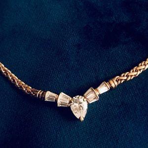 Vintage Crystal Gold Necklace